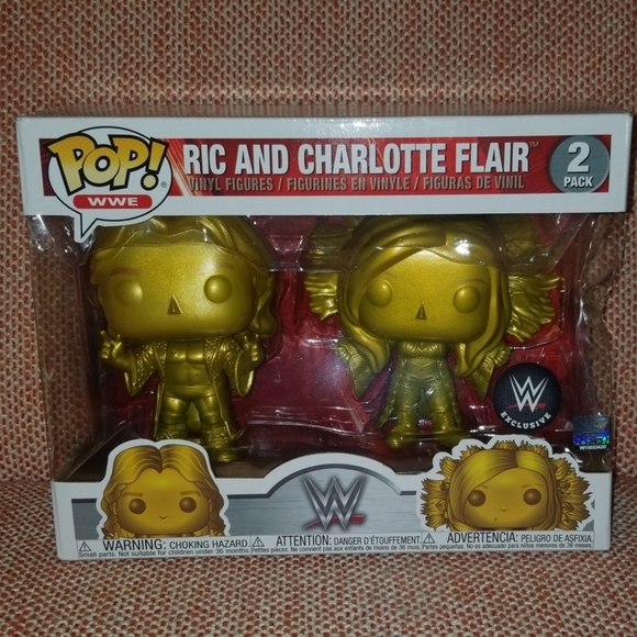 Vinyl Figures 2-Pack WWE Ric and Charlotte Flair Gold Exclusive Pop